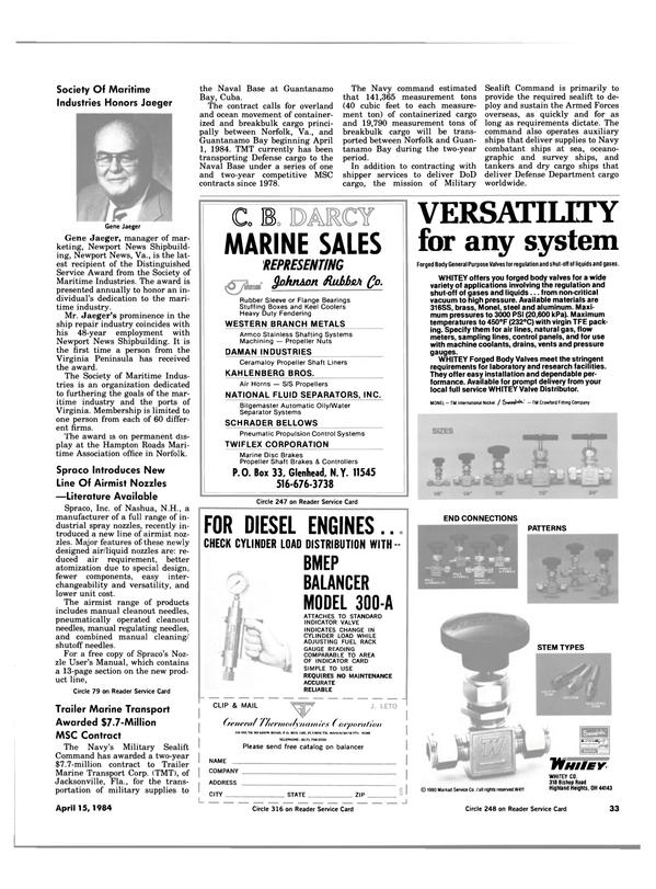 Maritime Reporter Magazine, page 31,  Apr 15, 1984 Florida