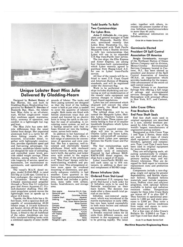 Maritime Reporter Magazine, page 38,  Apr 15, 1984