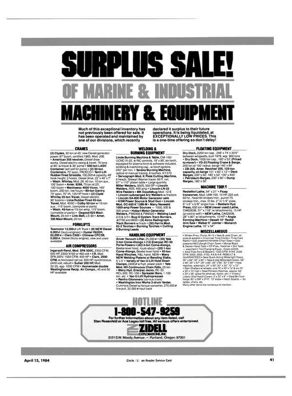 Maritime Reporter Magazine, page 39,  Apr 15, 1984