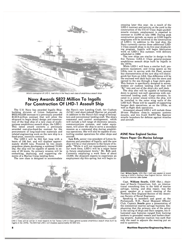 Maritime Reporter Magazine, page 6,  Apr 15, 1984 Society of Naval Engineers