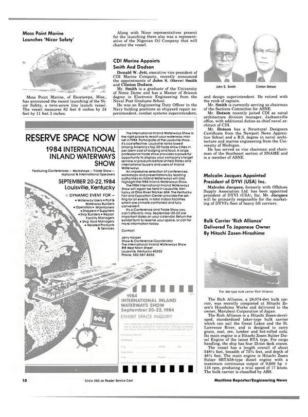 Maritime Reporter Magazine, page 8,  Jul 1984 RESERVE SPACE NOW