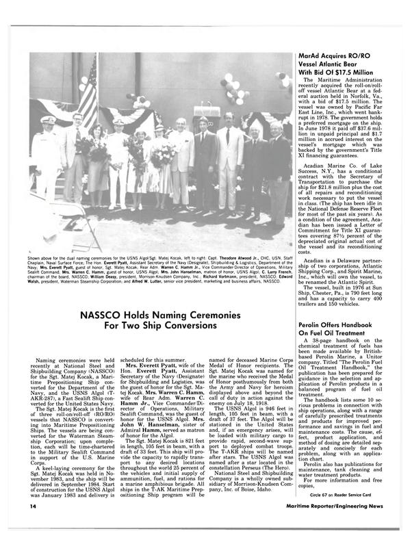 Maritime Reporter Magazine, page 12,  Jul 1984