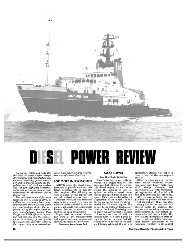 Maritime Reporter Magazine, page 16,  Jul 1984 diesel engines and systems