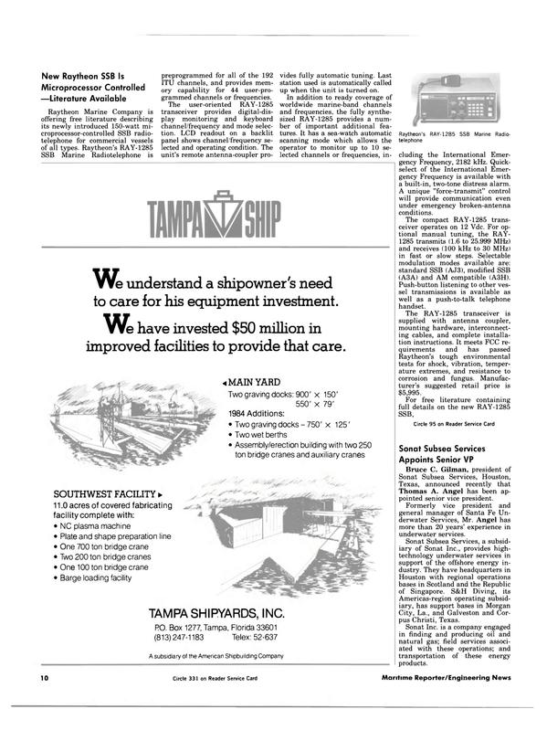 Maritime Reporter Magazine, page 8,  Jul 15, 1984