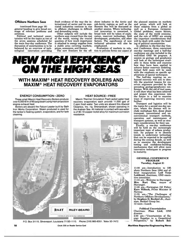 Maritime Reporter Magazine, page 16,  Jul 15, 1984