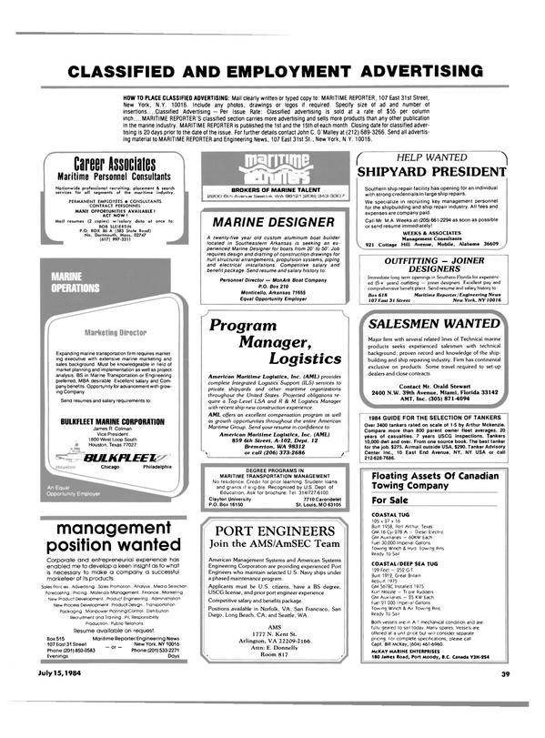Maritime Reporter Magazine, page 37,  Jul 15, 1984