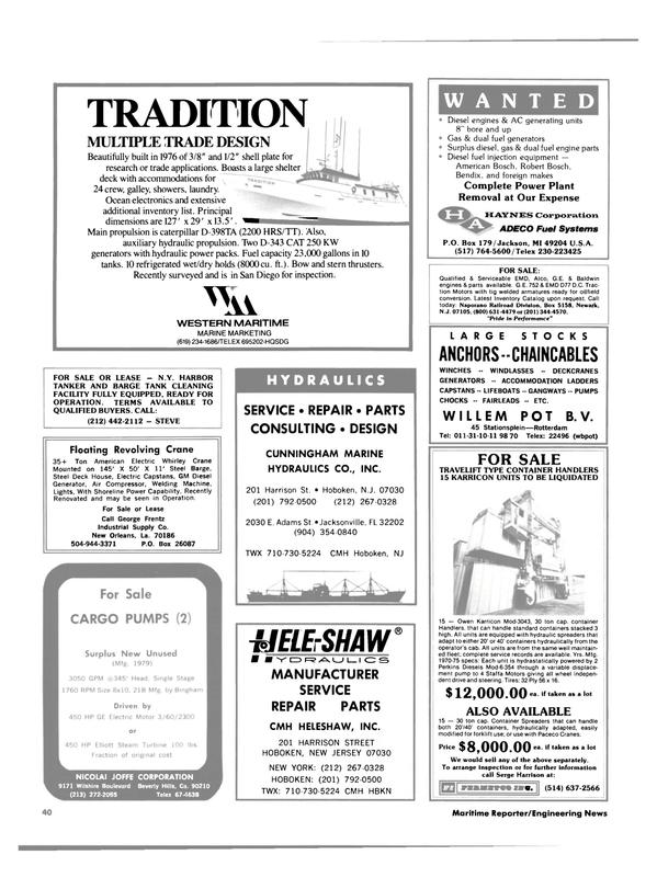 Maritime Reporter Magazine, page 38,  Jul 15, 1984 New York