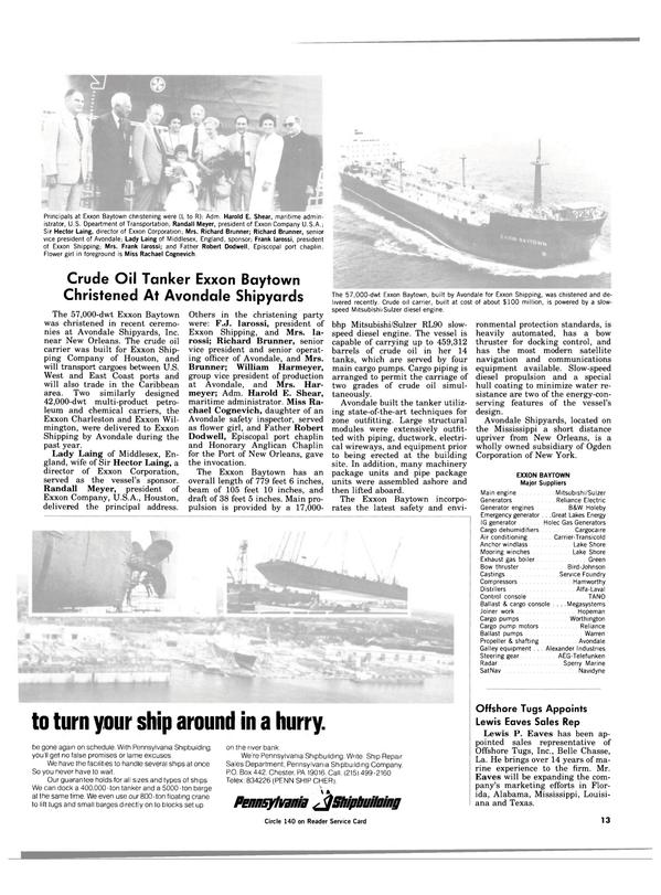 Maritime Reporter Magazine, page 11,  Aug 15, 1984 Louisiana