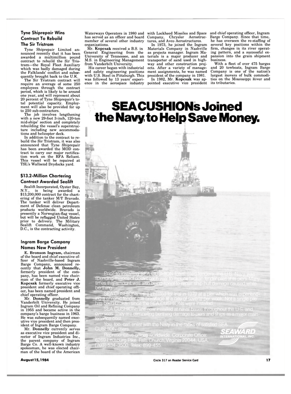 Maritime Reporter Magazine, page 15,  Aug 15, 1984 Tennessee