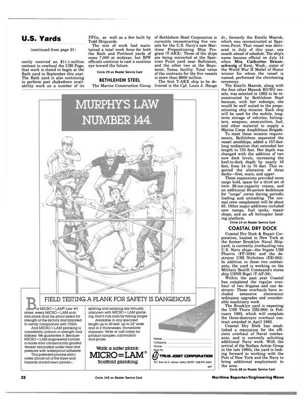 Maritime Reporter Magazine, page 20,  Aug 15, 1984 Texas