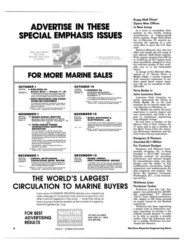 Maritime Reporter Magazine, page 6,  Aug 15, 1984