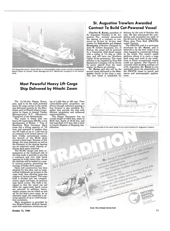 Maritime Reporter Magazine, page 9,  Oct 15, 1984