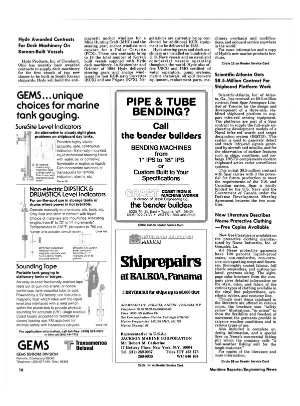 Maritime Reporter Magazine, page 14,  Oct 15, 1984