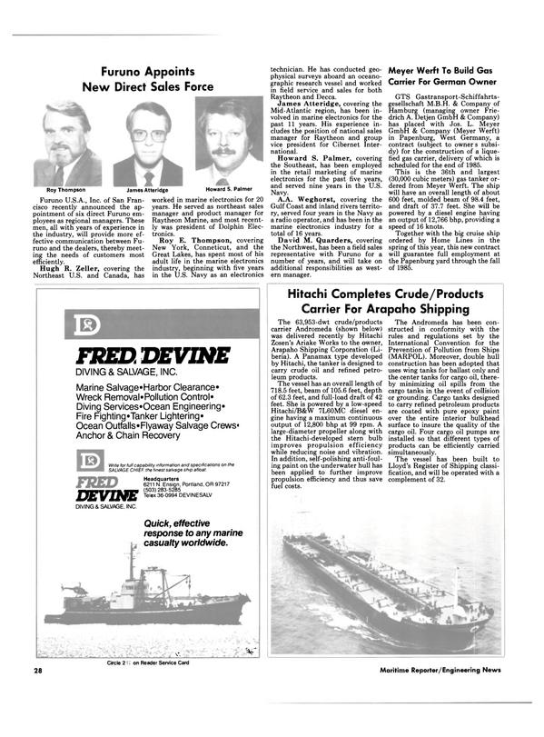 Maritime Reporter Magazine, page 26,  Oct 15, 1984