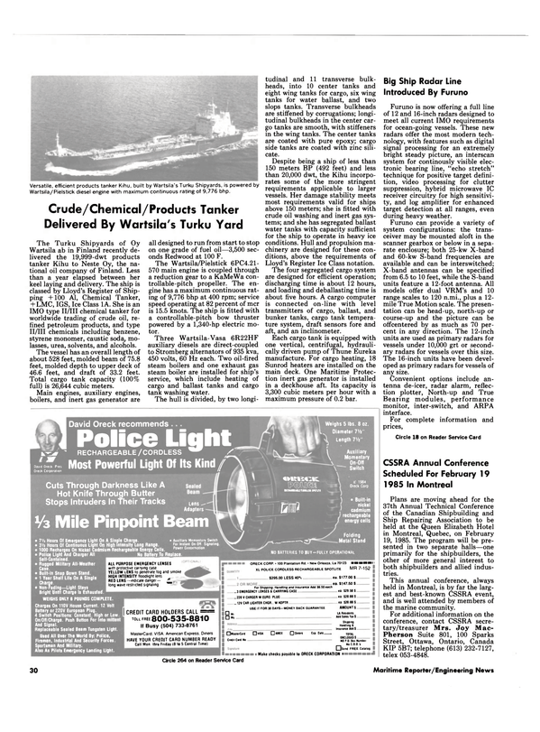 Maritime Reporter Magazine, page 28,  Oct 15, 1984