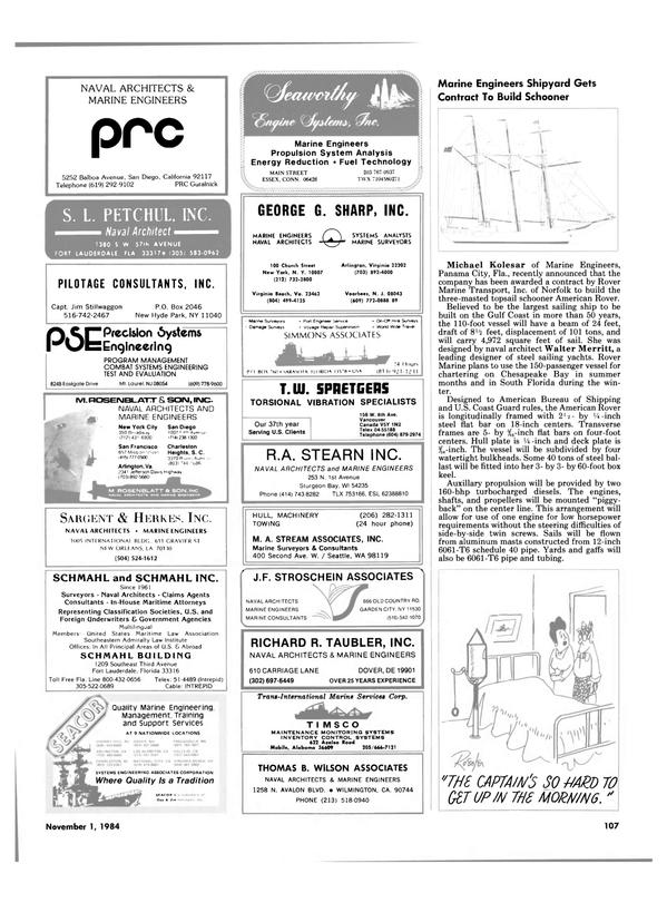 Maritime Reporter Magazine, page 103,  Nov 1984