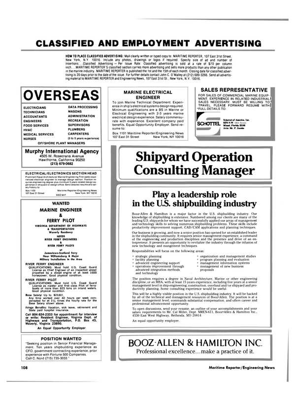 Maritime Reporter Magazine, page 104,  Nov 1984