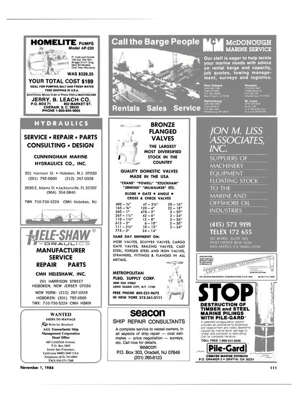Maritime Reporter Magazine, page 107,  Nov 1984