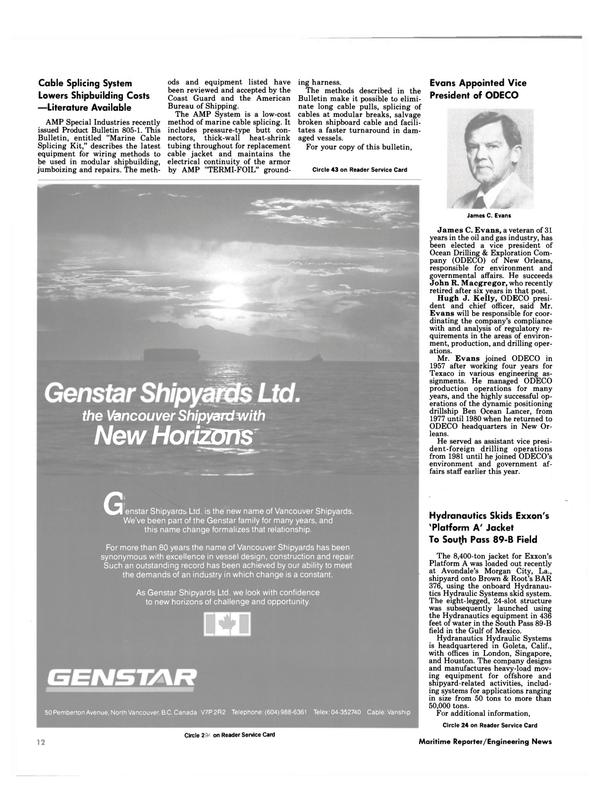 Maritime Reporter Magazine, page 10,  Nov 1984