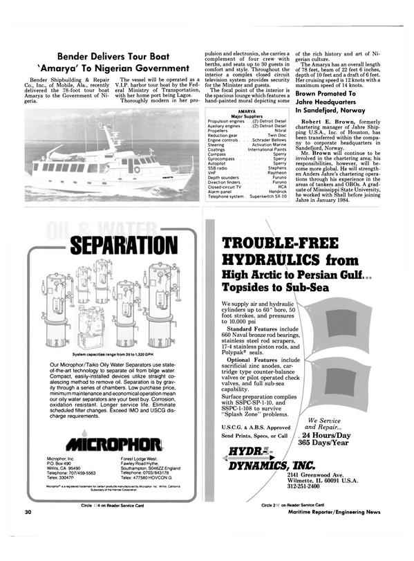 Maritime Reporter Magazine, page 26,  Nov 1984