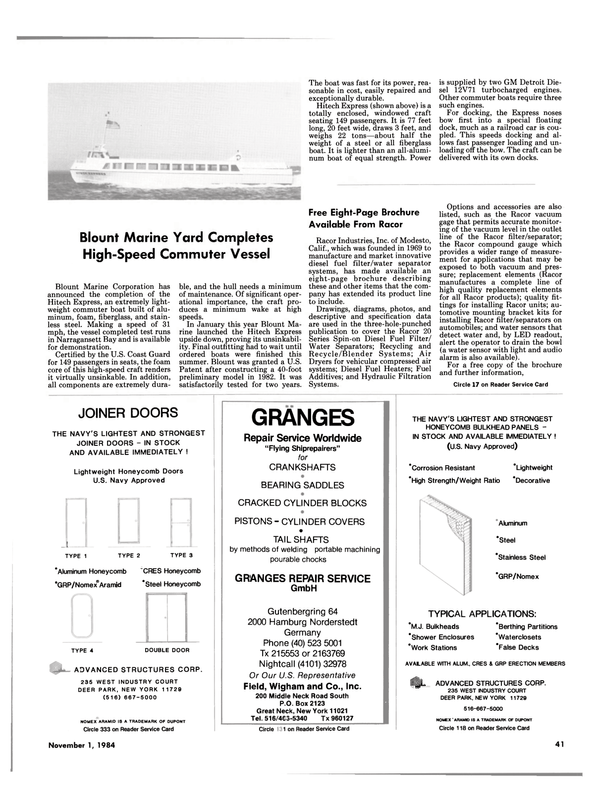 Maritime Reporter Magazine, page 37,  Nov 1984