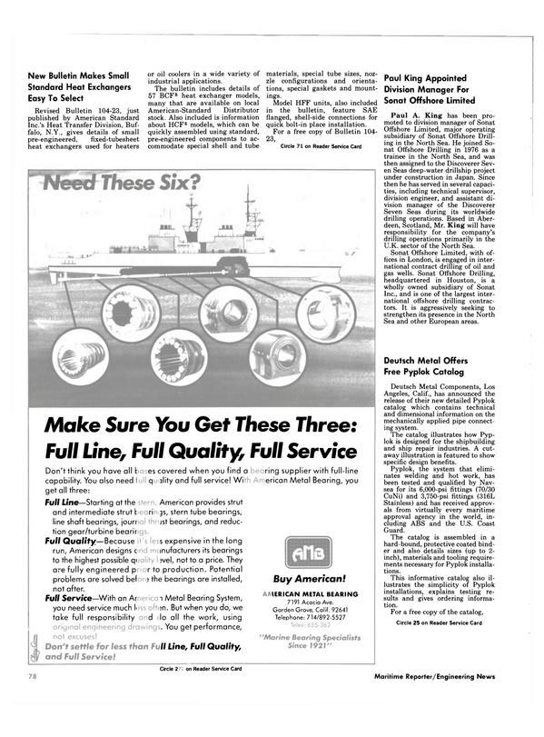 Maritime Reporter Magazine, page 74,  Nov 1984