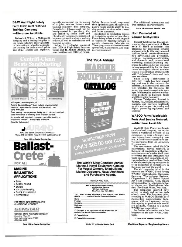 Maritime Reporter Magazine, page 8,  Nov 15, 1984