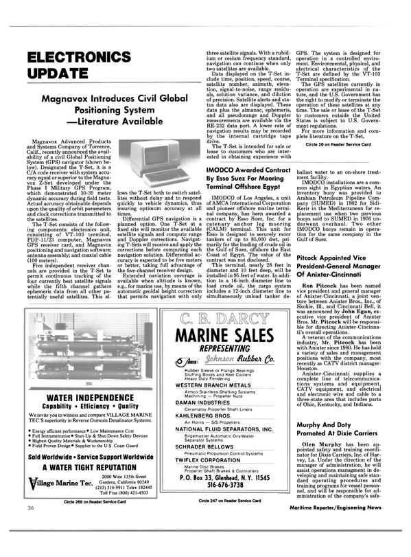 Maritime Reporter Magazine, page 30,  Nov 15, 1984 East Coast of Egypt