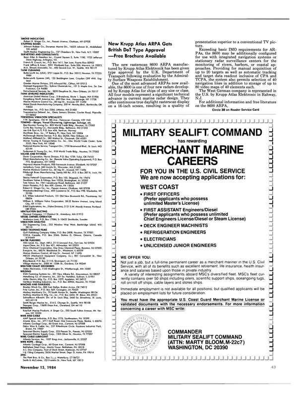 Maritime Reporter Magazine, page 37,  Nov 15, 1984