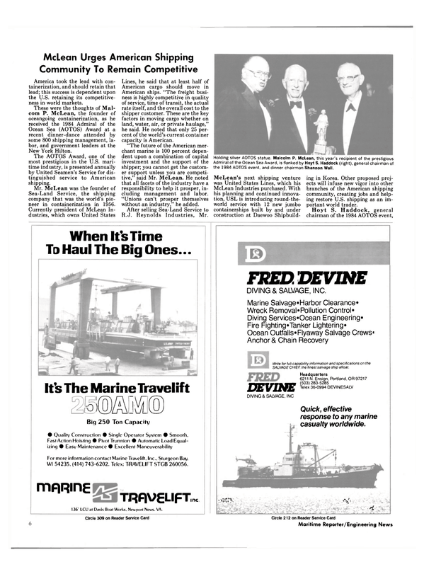 Maritime Reporter Magazine, page 4,  Nov 15, 1984