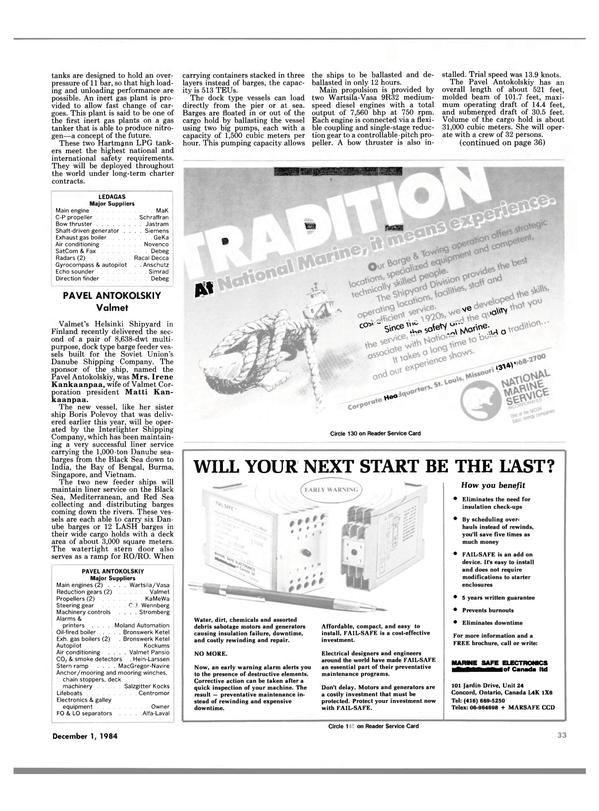 Maritime Reporter Magazine, page 33,  Dec 1984