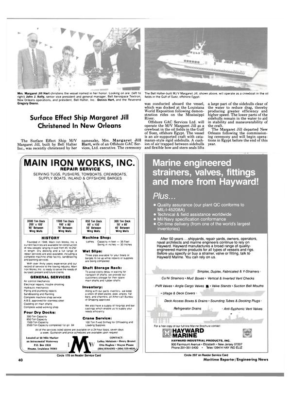 Maritime Reporter Magazine, page 40,  Dec 1984