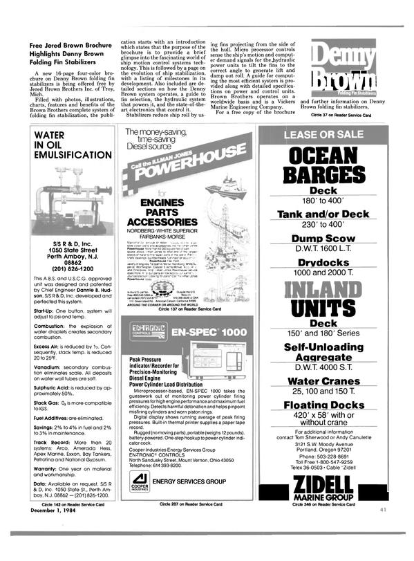 Maritime Reporter Magazine, page 41,  Dec 1984 Denny Brown