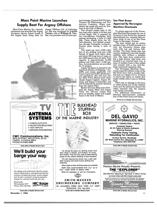 Maritime Reporter Magazine, page 45,  Dec 1984 Louisiana