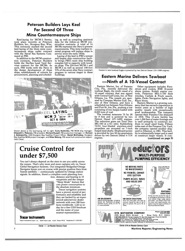 Maritime Reporter Magazine, page 6,  Dec 1984 Bridgestar/Omega Navigator