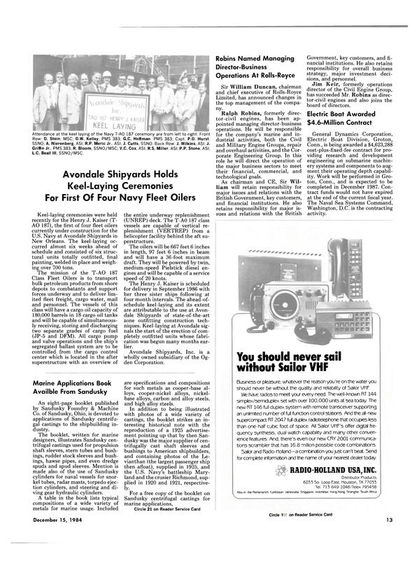 Maritime Reporter Magazine, page 11,  Dec 15, 1984 P.D. Hurst