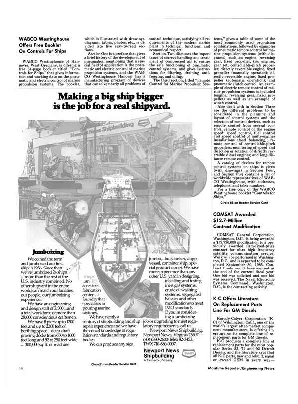 Maritime Reporter Magazine, page 14,  Dec 15, 1984