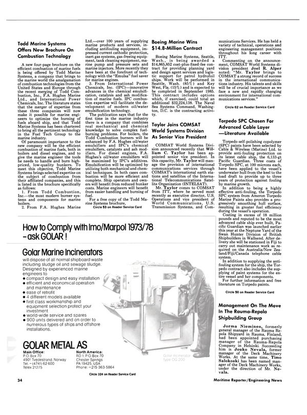 Maritime Reporter Magazine, page 32,  Dec 15, 1984 Florida