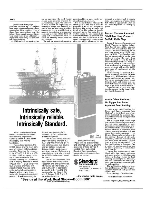 Maritime Reporter Magazine, page 10,  Jan 1985