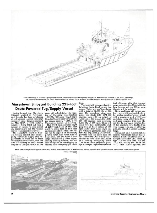Maritime Reporter Magazine, page 12,  Jan 1985