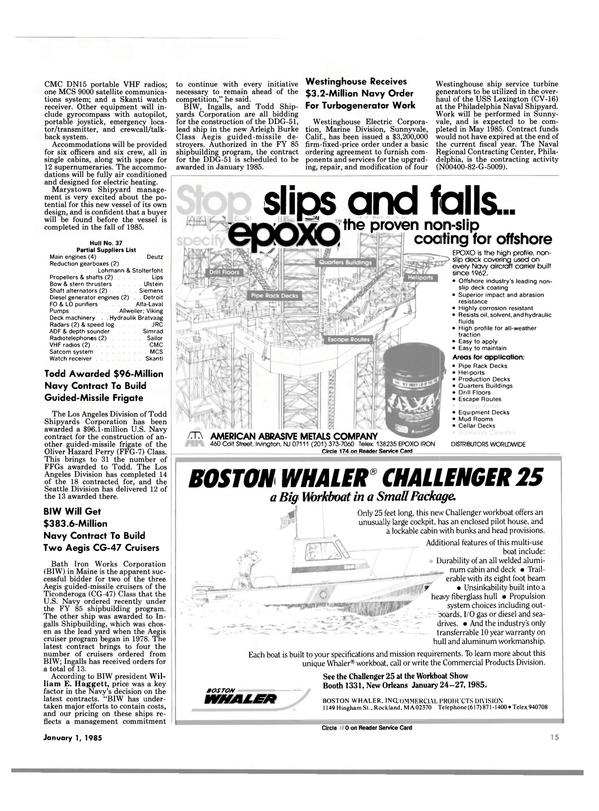 Maritime Reporter Magazine, page 13,  Jan 1985