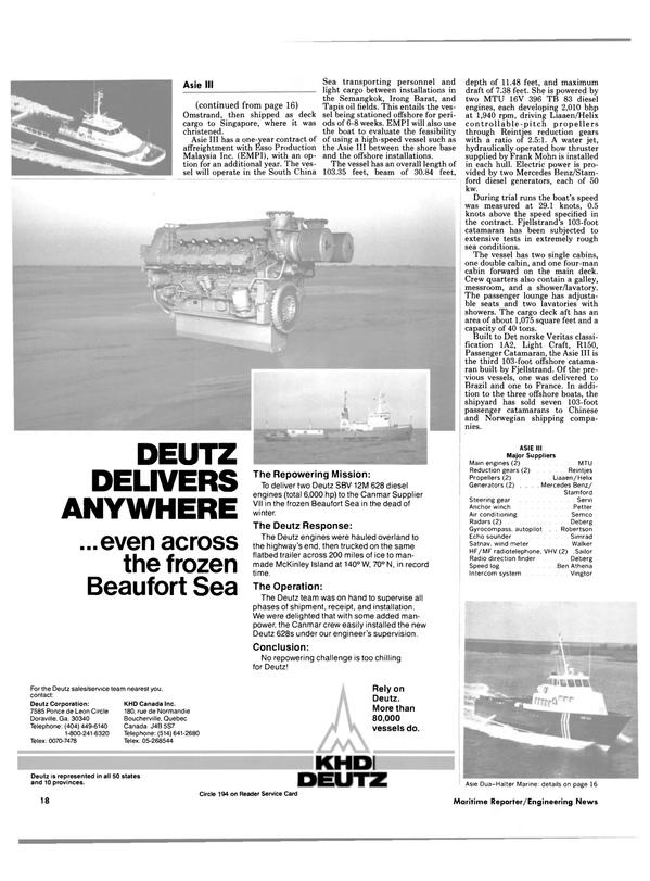 Maritime Reporter Magazine, page 16,  Jan 1985 Ben Athena Intercom