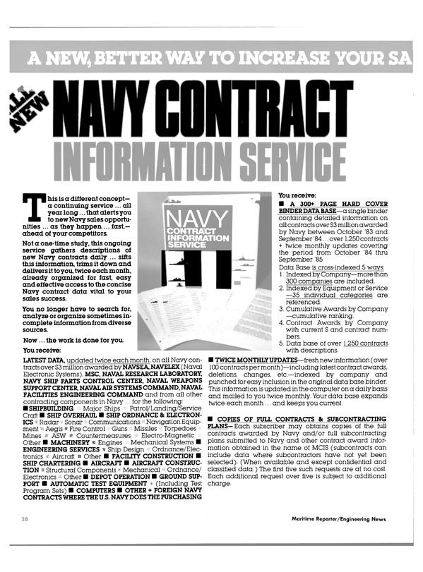 Maritime Reporter Magazine, page 28,  Jan 1985