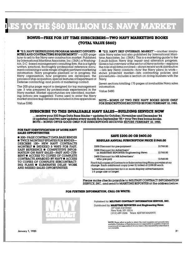 Maritime Reporter Magazine, page 29,  Jan 1985