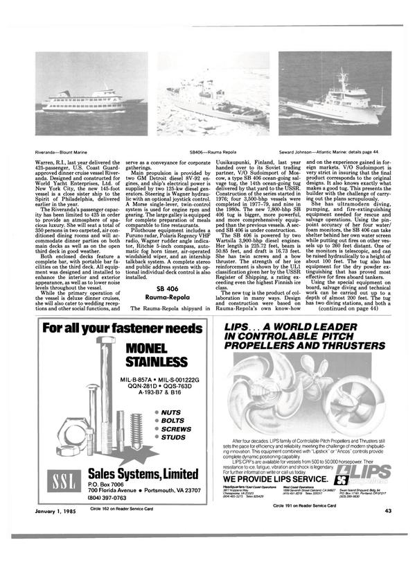 Maritime Reporter Magazine, page 45,  Jan 1985