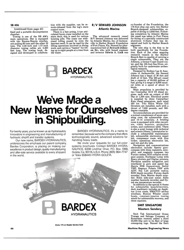 Maritime Reporter Magazine, page 46,  Jan 1985