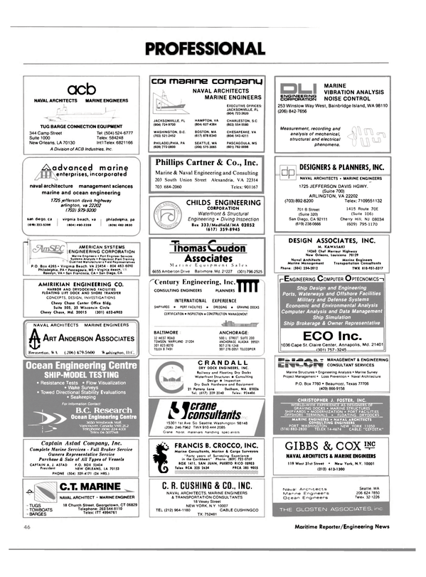 Maritime Reporter Magazine, page 48,  Jan 1985