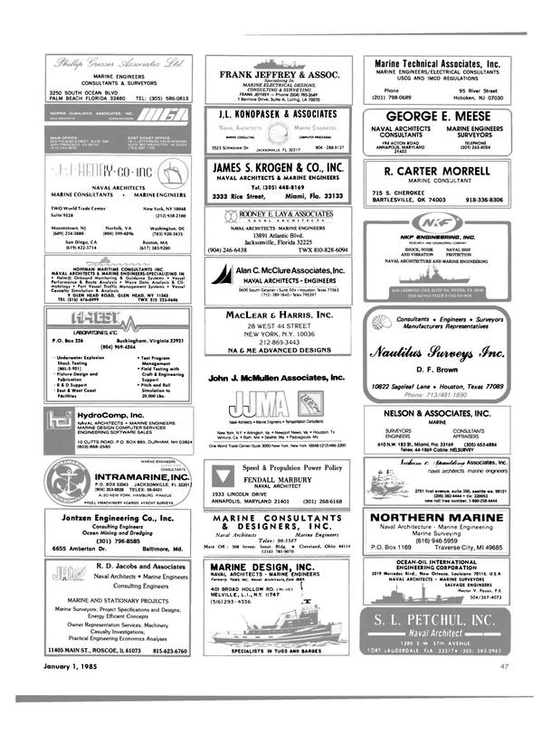 Maritime Reporter Magazine, page 49,  Jan 1985