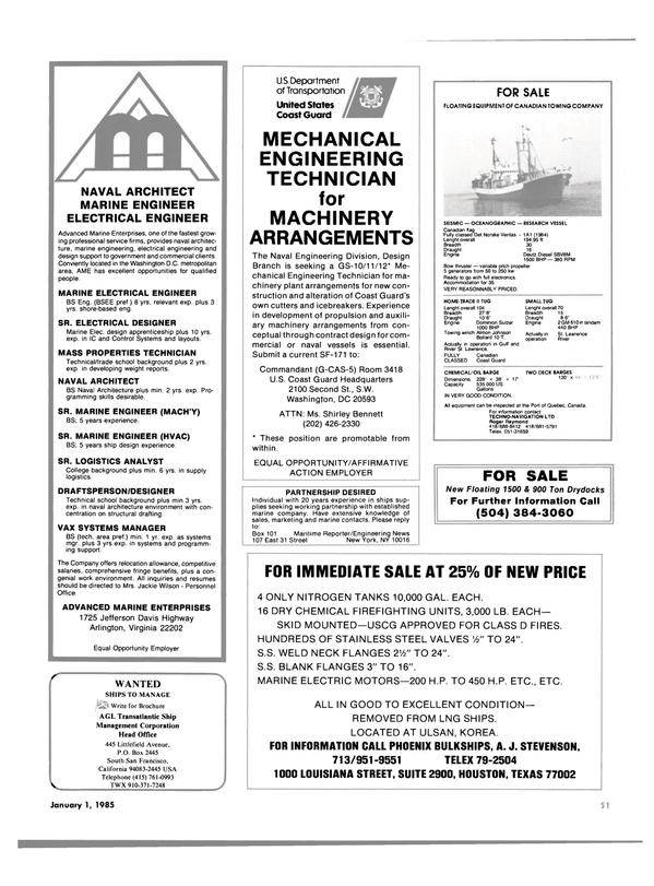 Maritime Reporter Magazine, page 53,  Jan 1985