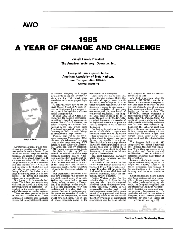 Maritime Reporter Magazine, page 6,  Jan 1985